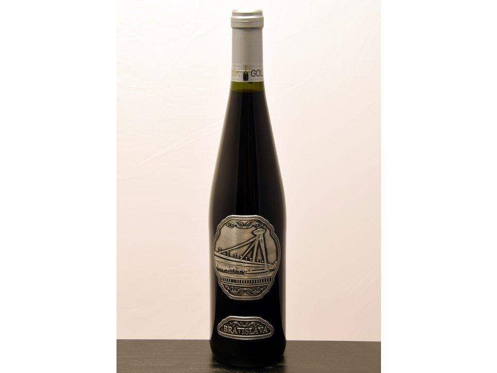 Rýnska fľaša s cínovou etiketou Most SNP - biele víno