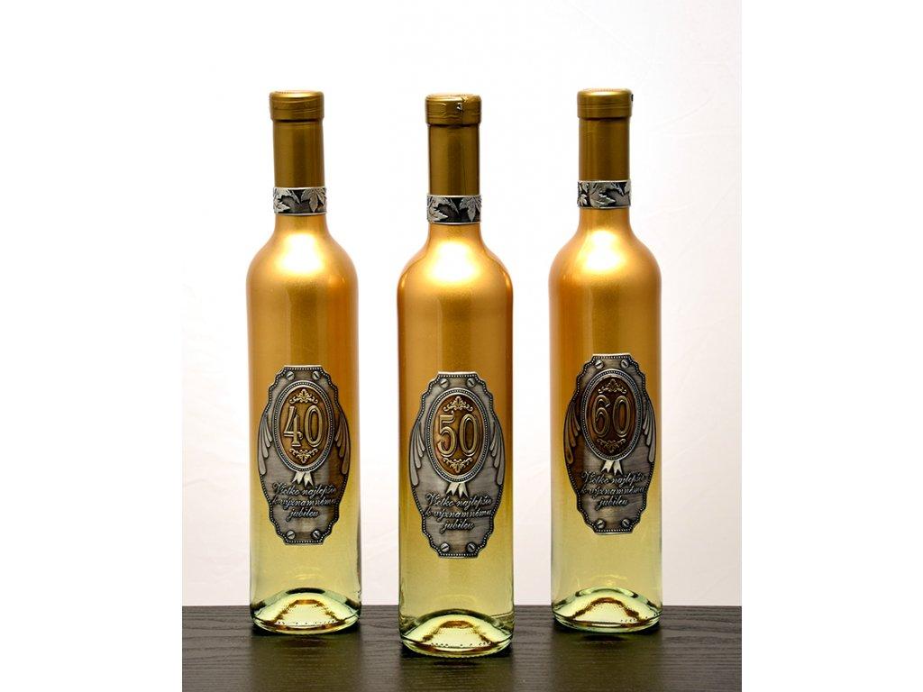 Zlatá fľaša k jubileu - biele víno