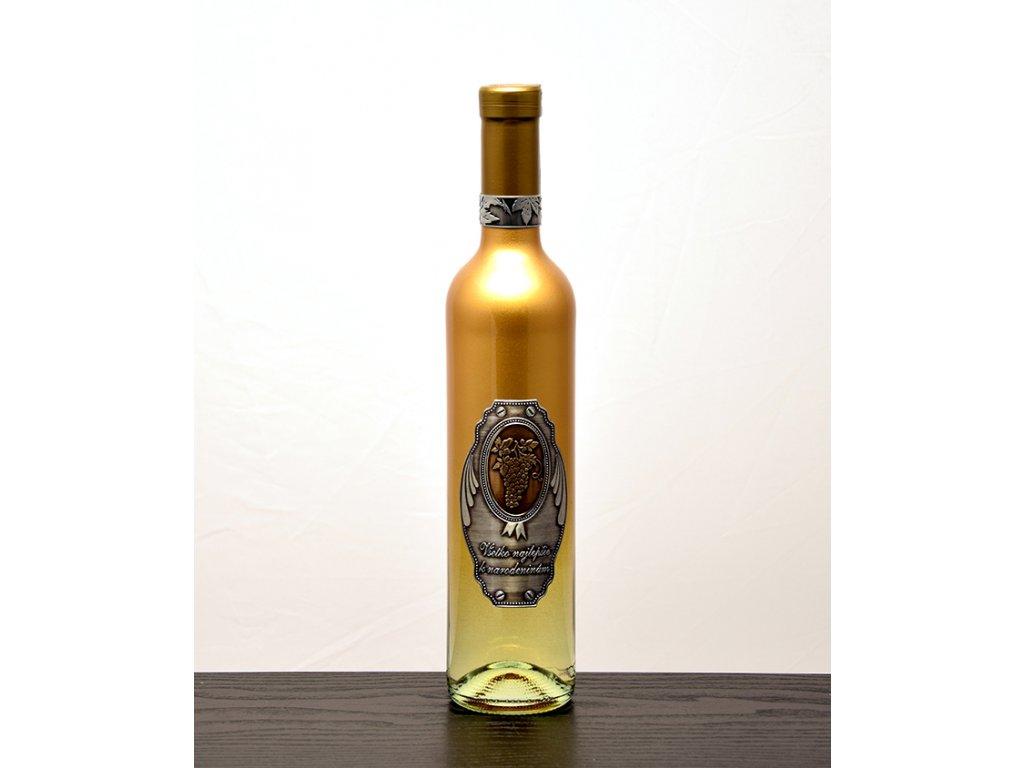 Zlatá fľaša k narodeninám - biele víno