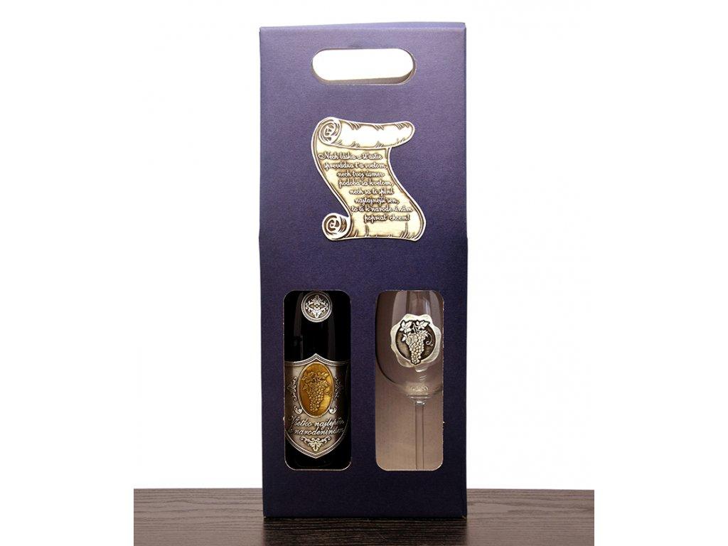 Darčekový set 1/1 skovovou etiketou Pergamen - biele víno