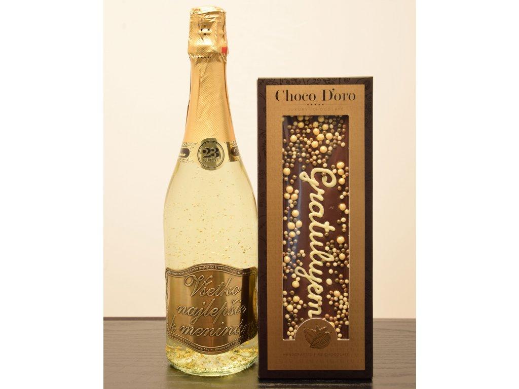 Šumivé víno so zlatými lupienkami Všetko najlepšie kmeninám  + čokoláda Gratulujem