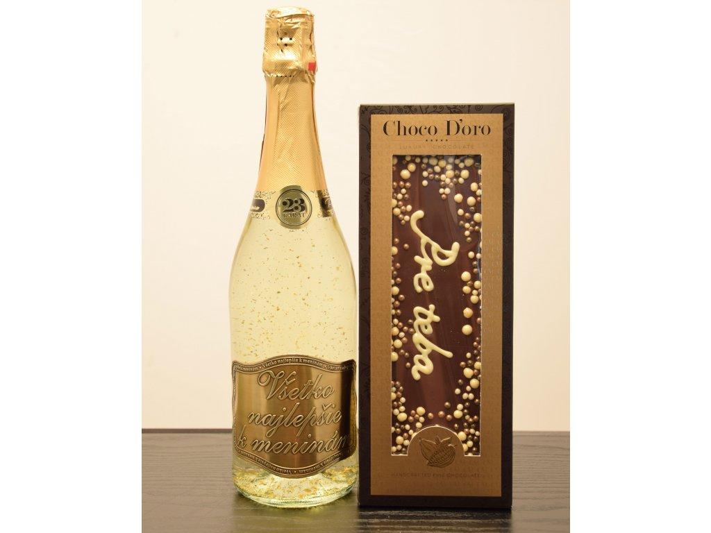 Šumivé víno so zlatými lupienkami Všetko najlepšie kmeninám  + čokoláda Pre teba