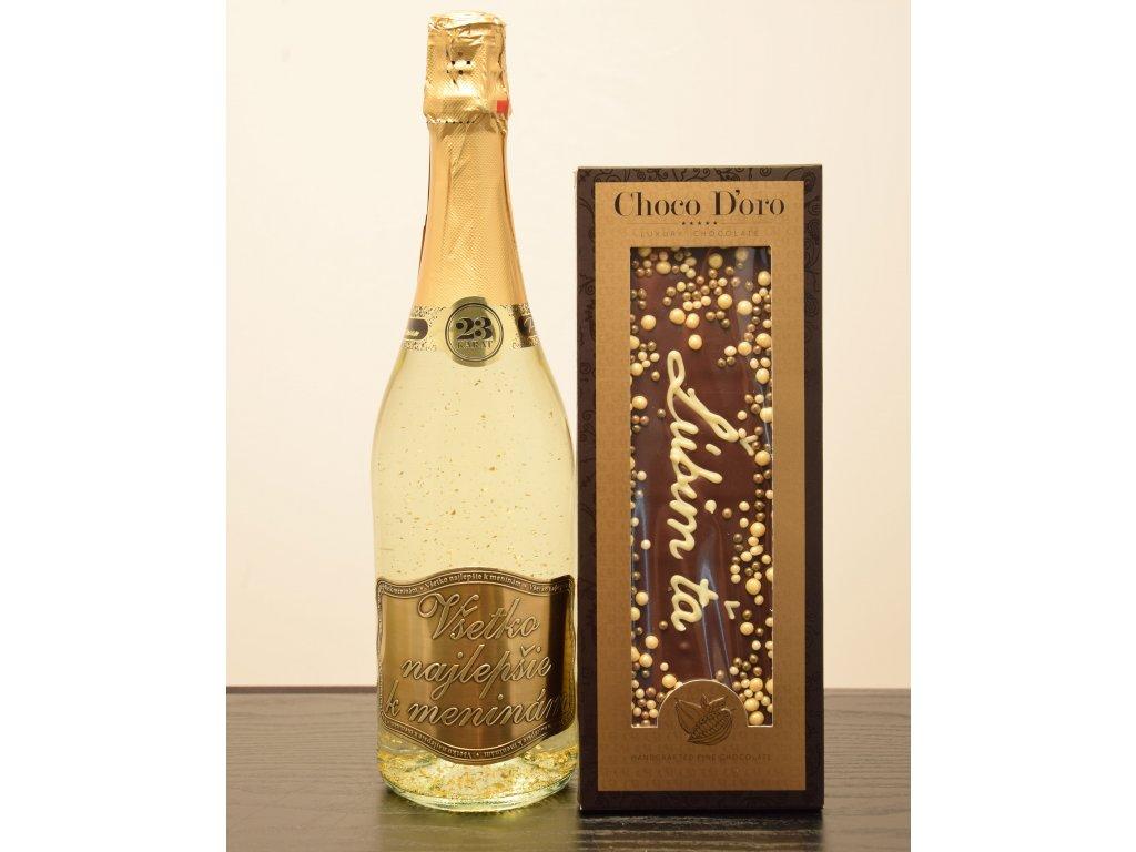 Šumivé víno so zlatými lupienkami Všetko najlepšie kmeninám  + čokoláda Lúbim ťa