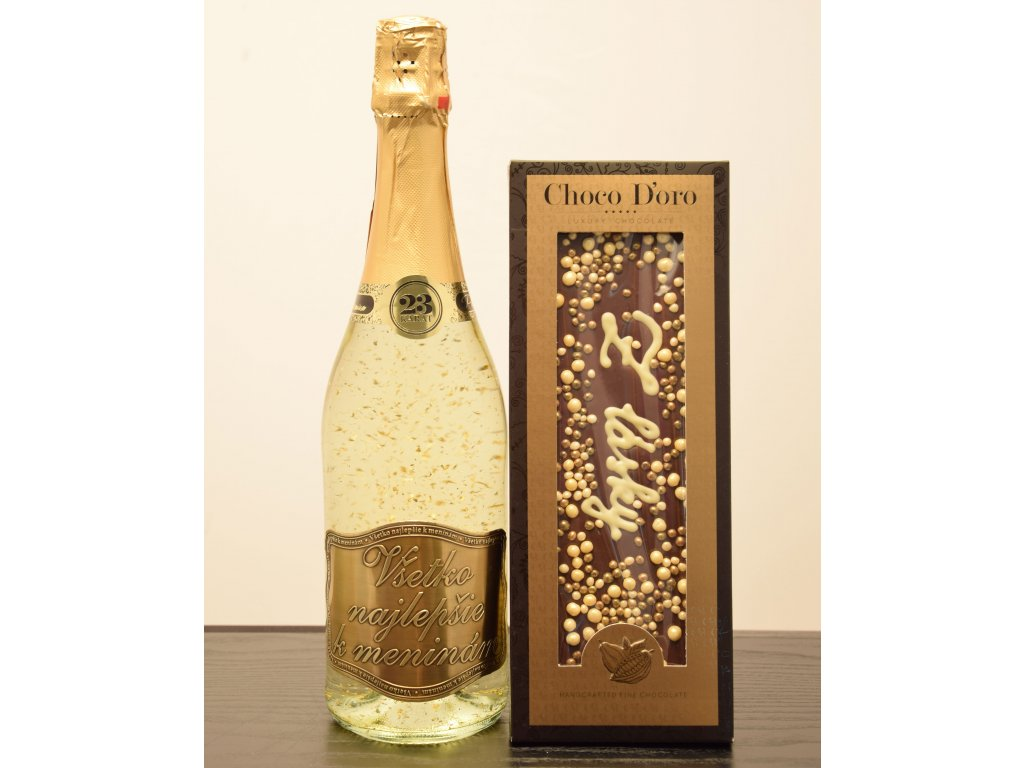 Šumivé víno so zlatými lupienkami Všetko najlepšie kmeninám  + čokoláda Z lásky