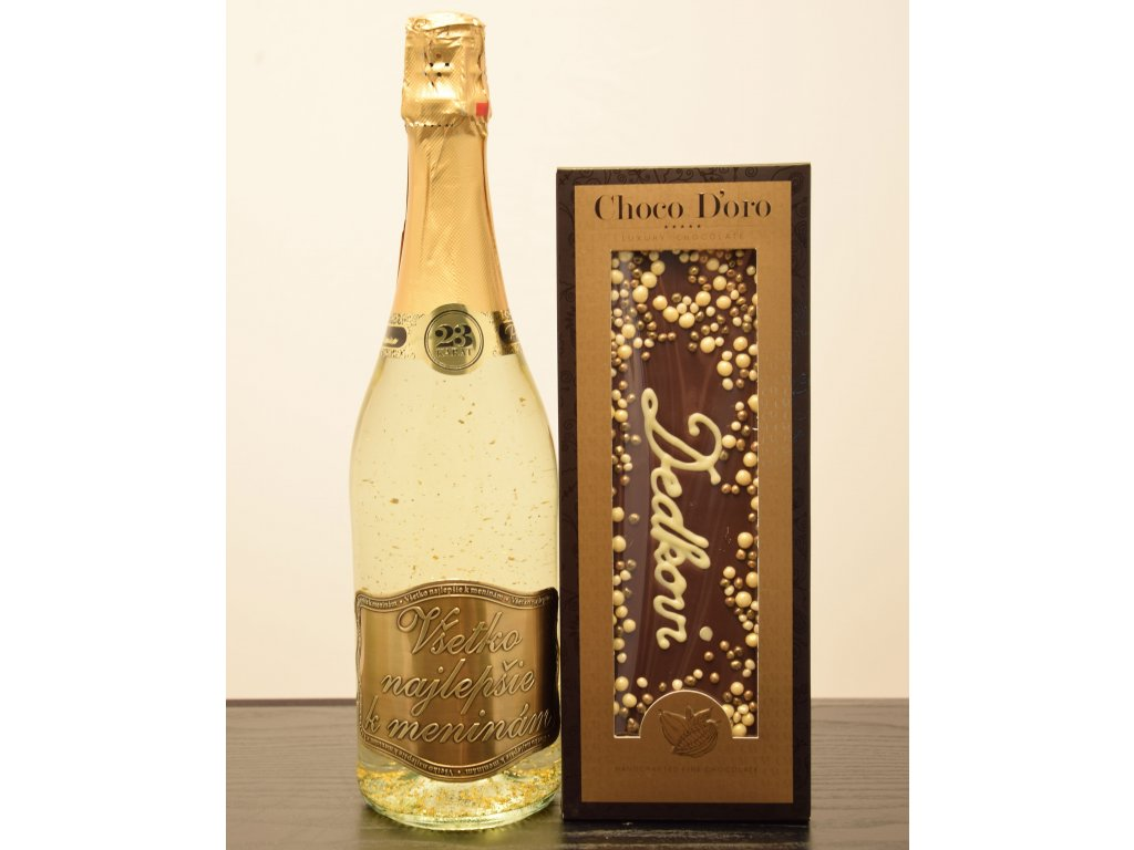 Šumivé víno so zlatými lupienkami Všetko najlepšie kmeninám  + čokoláda Dedkovi