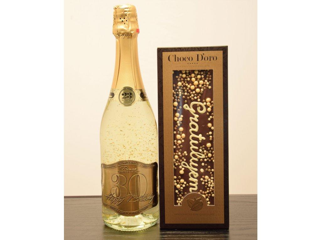 Šumivé víno so zlatými lupienkami Happy Birthday 30 + čokoláda Gratulujem