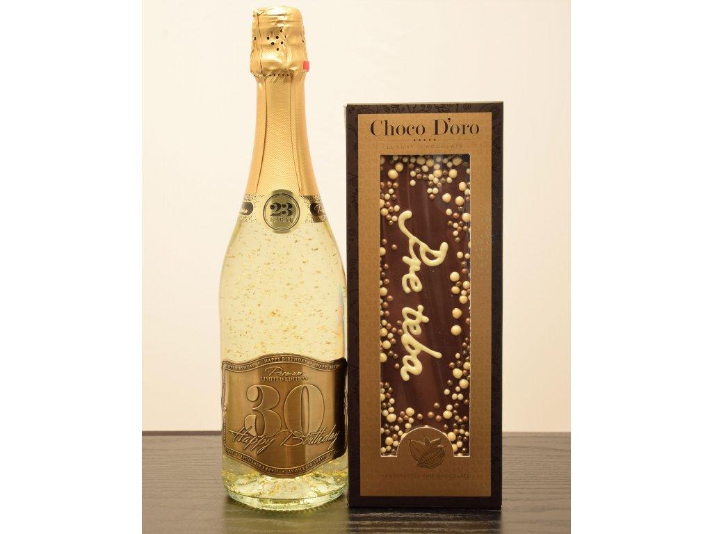Šumivé víno so zlatými lupienkami Happy Birthday 30 + čokoláda Pre teba