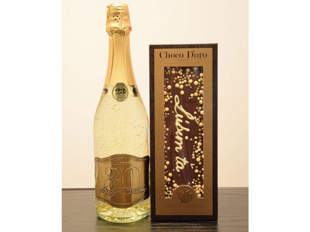 Šumivé víno so zlatými lupienkami Happy Birthday 30 + čokoláda Ľúbim ťa