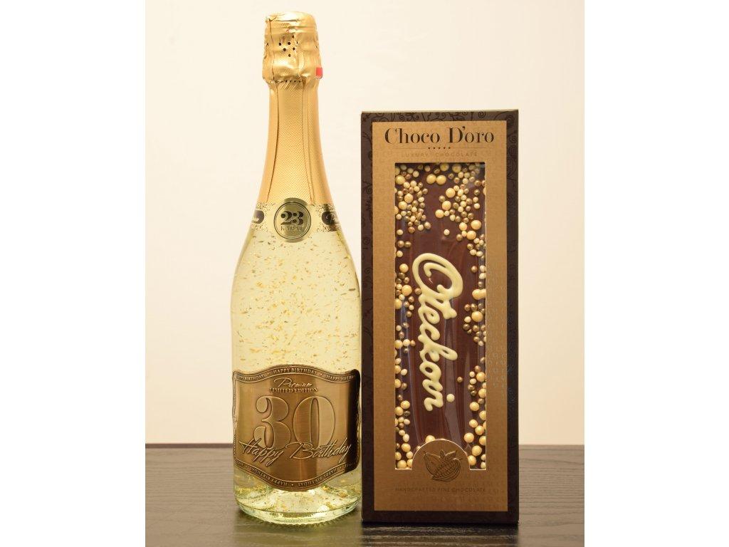 Šumivé víno so zlatými lupienkami Happy Birthday 30 + čokoláda Oteckovi