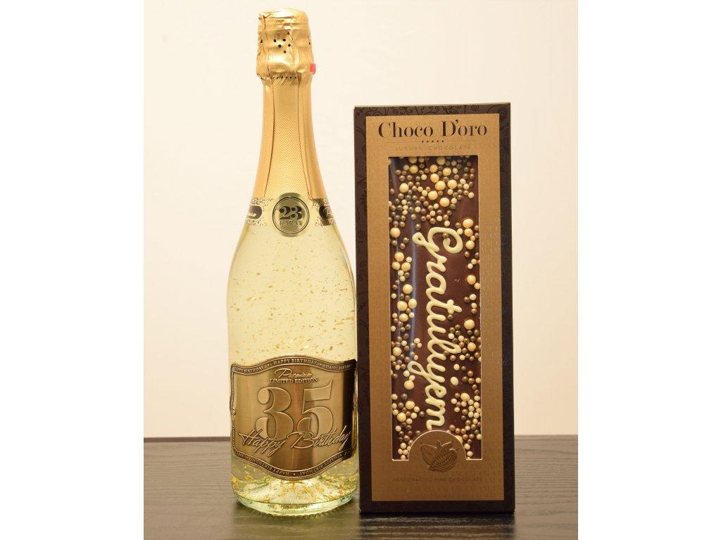 Šumivé víno so zlatými lupienkami Happy Birthday 35 + čokoláda Gratulujem