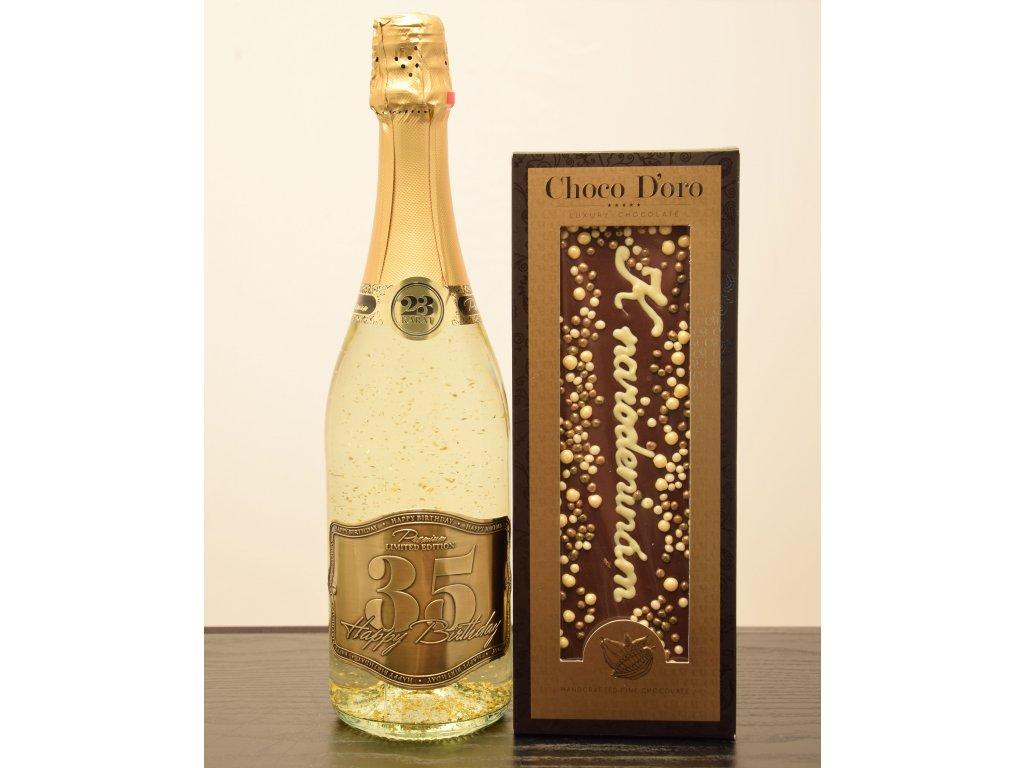 Šumivé víno so zlatými lupienkami Happy Birthday 35 + čokoláda K narodeninám