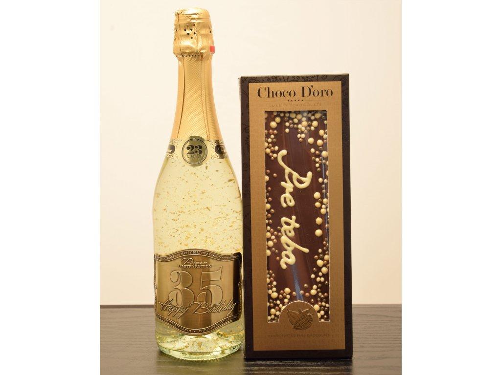 Šumivé víno so zlatými lupienkami Happy Birthday 35 + čokoláda Pre teba