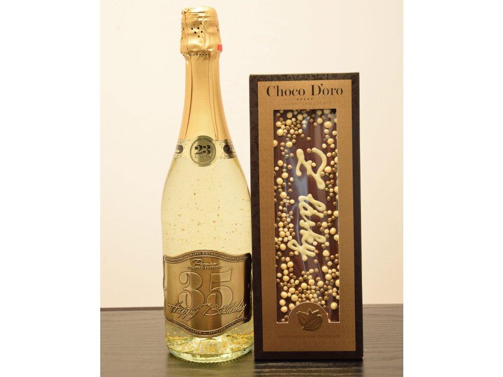 Šumivé víno so zlatými lupienkami Happy Birthday 35 + čokoláda Z lásky