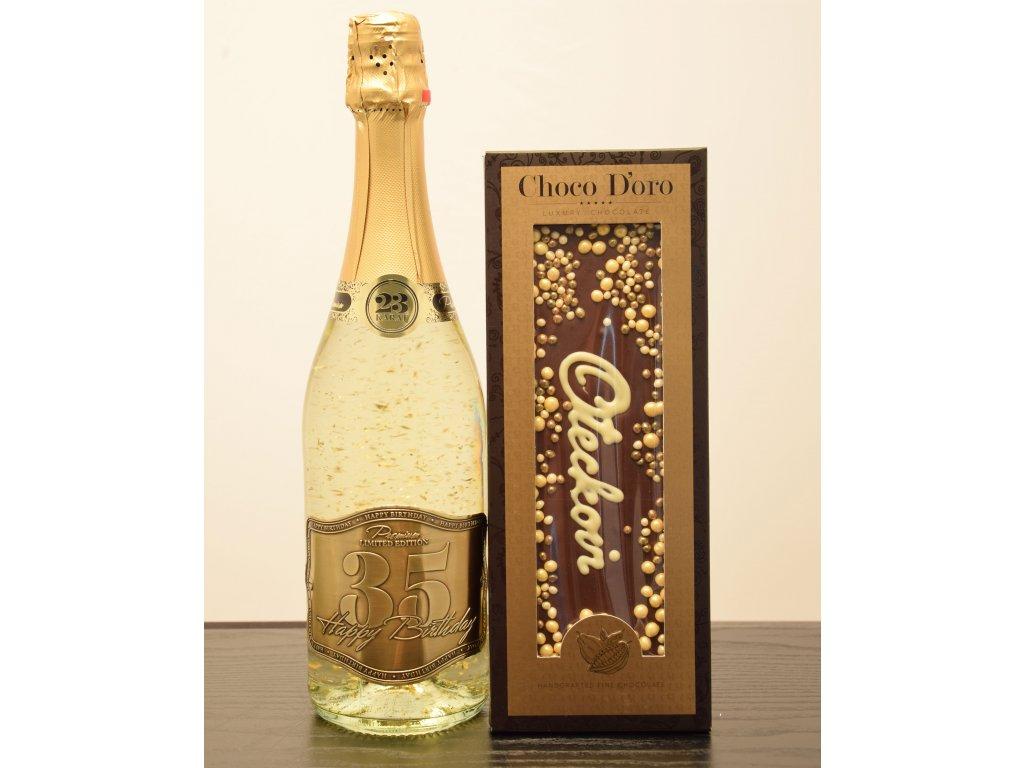 Šumivé víno so zlatými lupienkami Happy Birthday 35 + čokoláda Oteckovi