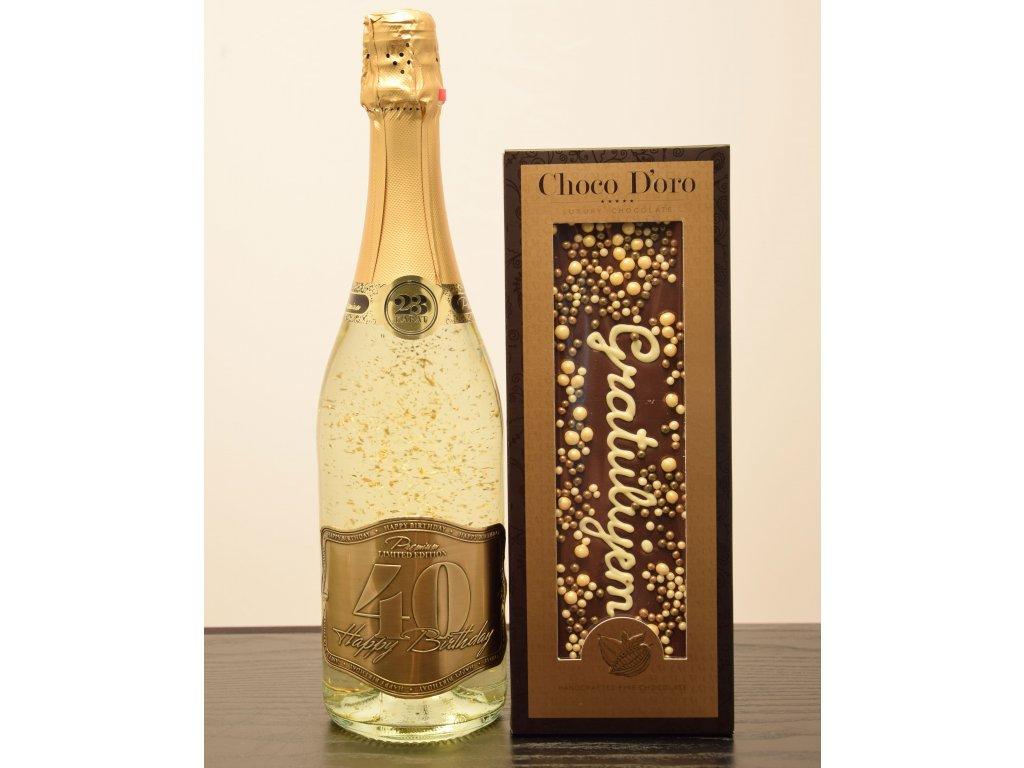 Šumivé víno so zlatými lupienkami Happy Birthday 40 + čokoláda Gratulujem