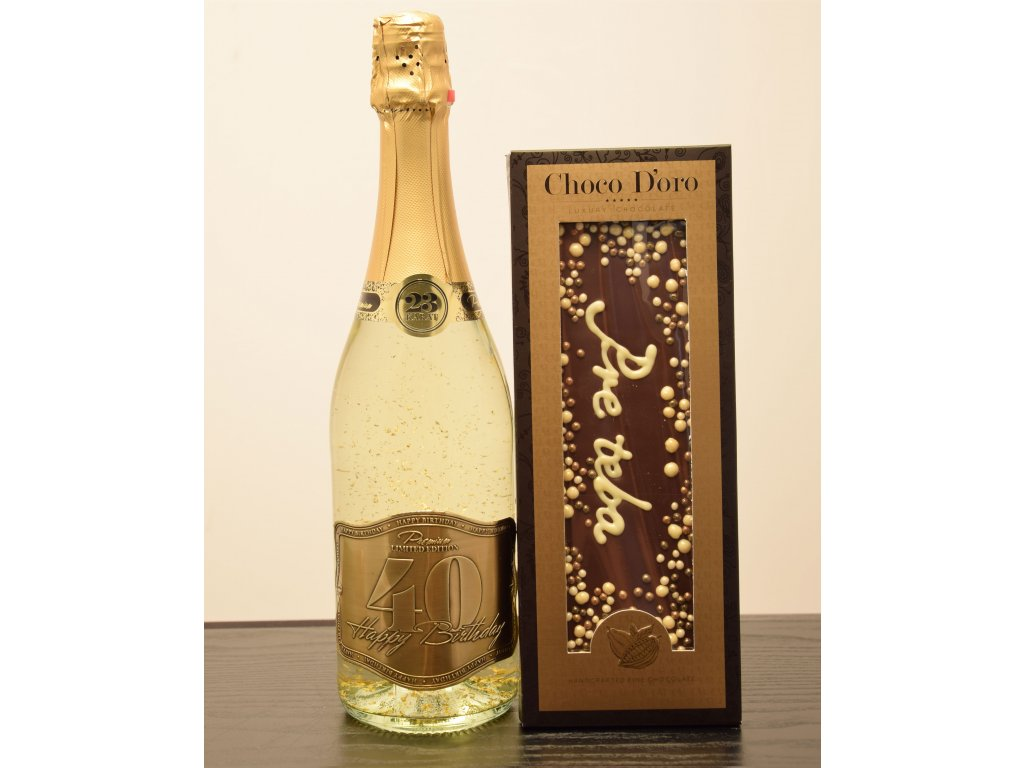 Šumivé víno so zlatými lupienkami Happy Birthday 40 + čokoláda Pre teba