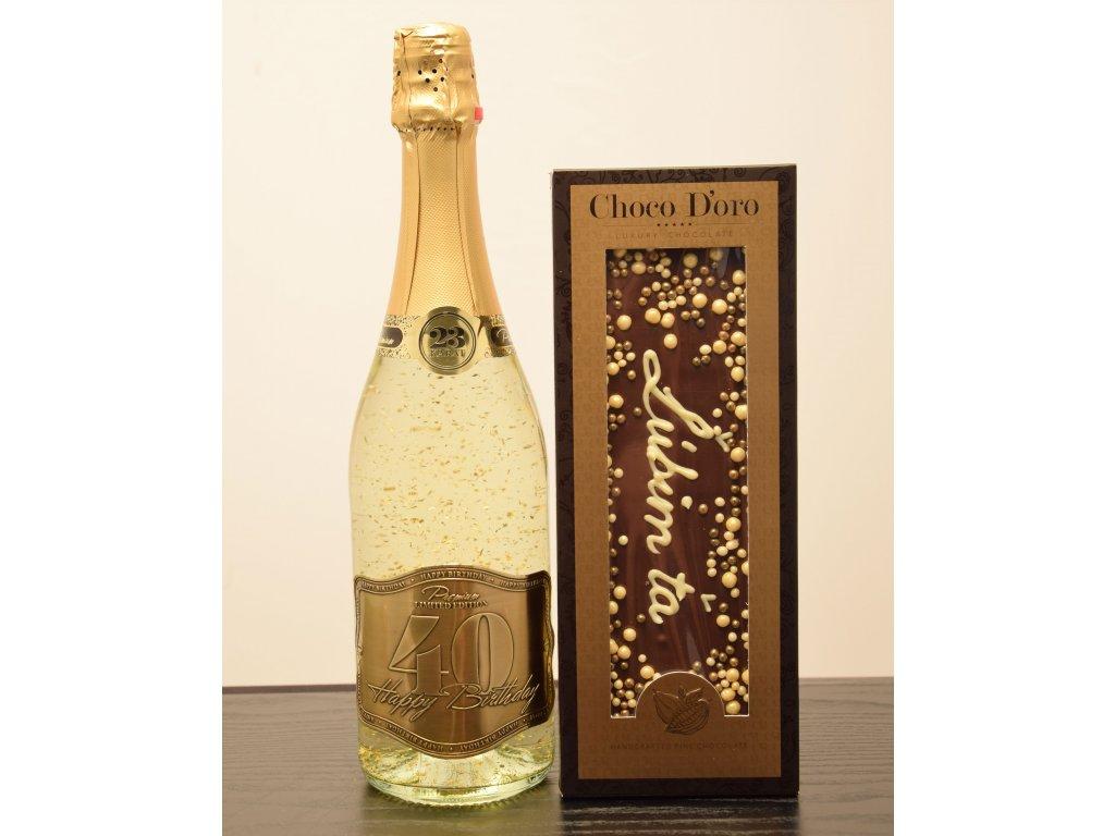 Šumivé víno so zlatými lupienkami Happy Birthday 40 + čokoláda Ľúbim ťa