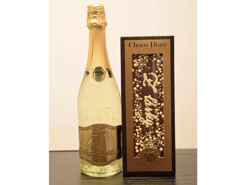 Šumivé víno so zlatými lupienkami Happy Birthday 40 + čokoláda Z lásky