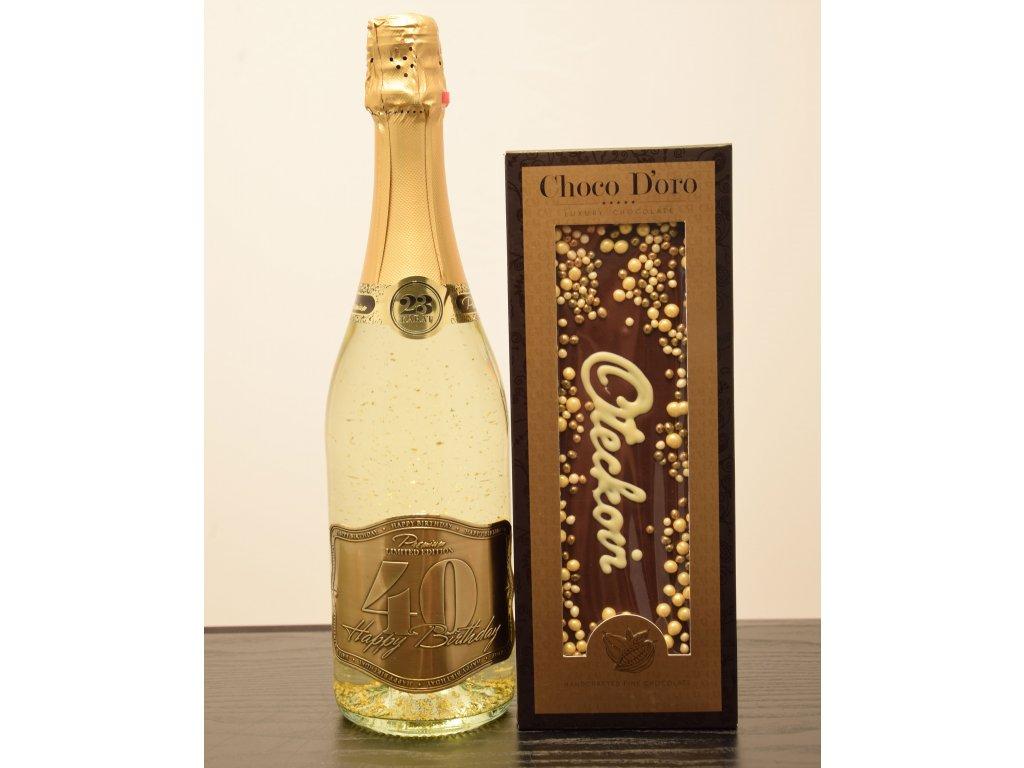 Šumivé víno so zlatými lupienkami Happy Birthday 40 + čokoláda Oteckovi