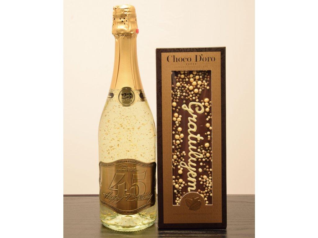 Šumivé víno so zlatými lupienkami Happy Birthday 45 + čokoláda Gratulujem