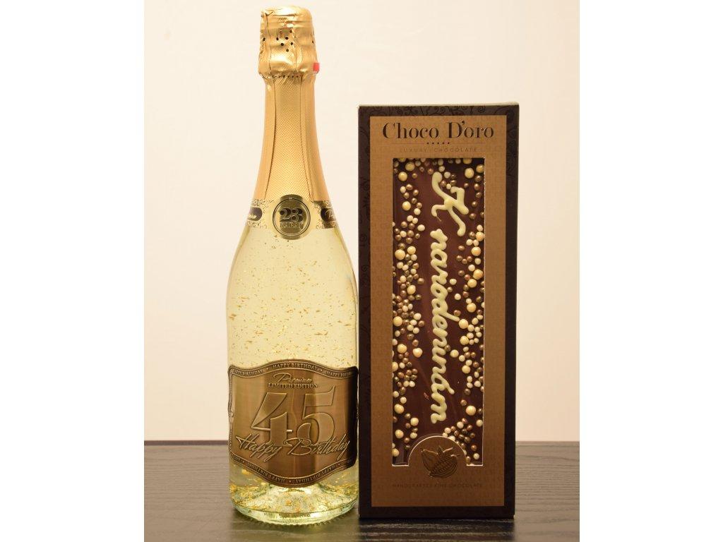 Šumivé víno so zlatými lupienkami Happy Birthday 45 + čokoláda k narodeninám