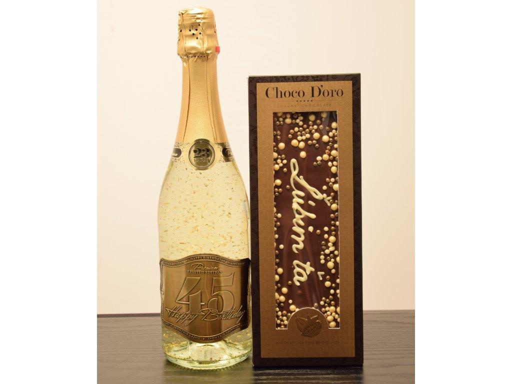 Šumivé víno so zlatými lupienkami Happy Birthday 45 + čokoláda Ľúbim ťa