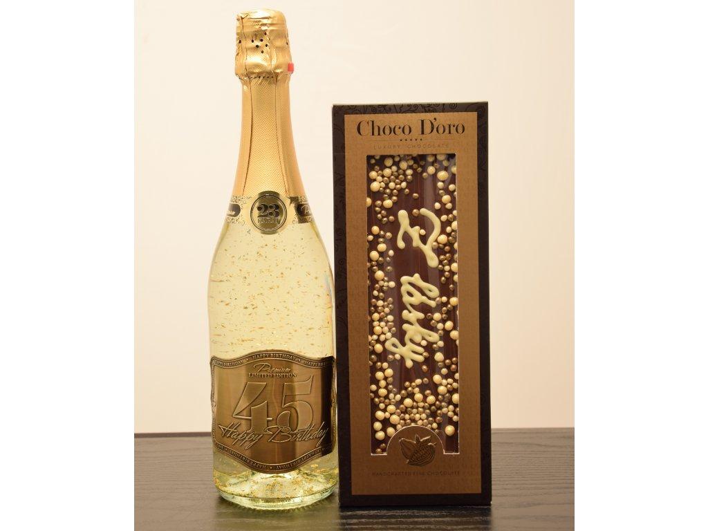 Šumivé víno so zlatými lupienkami Happy Birthday 45 + čokoláda Z LÁSKY