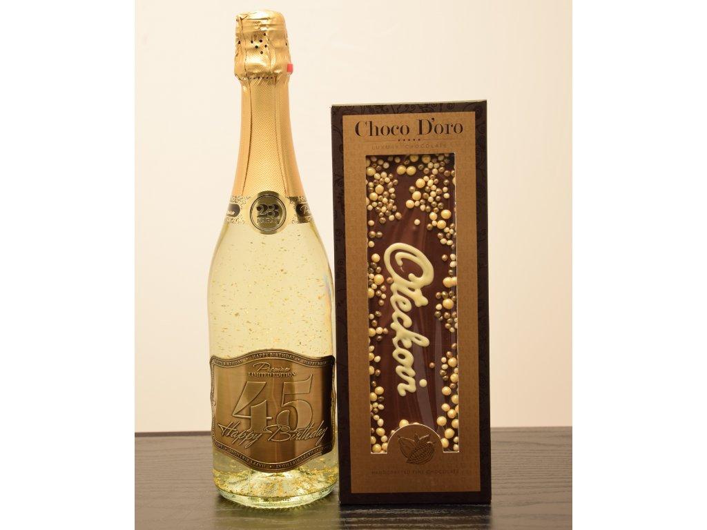 Šumivé víno so zlatými lupienkami Happy Birthday 45 + čokoláda Oteckovi