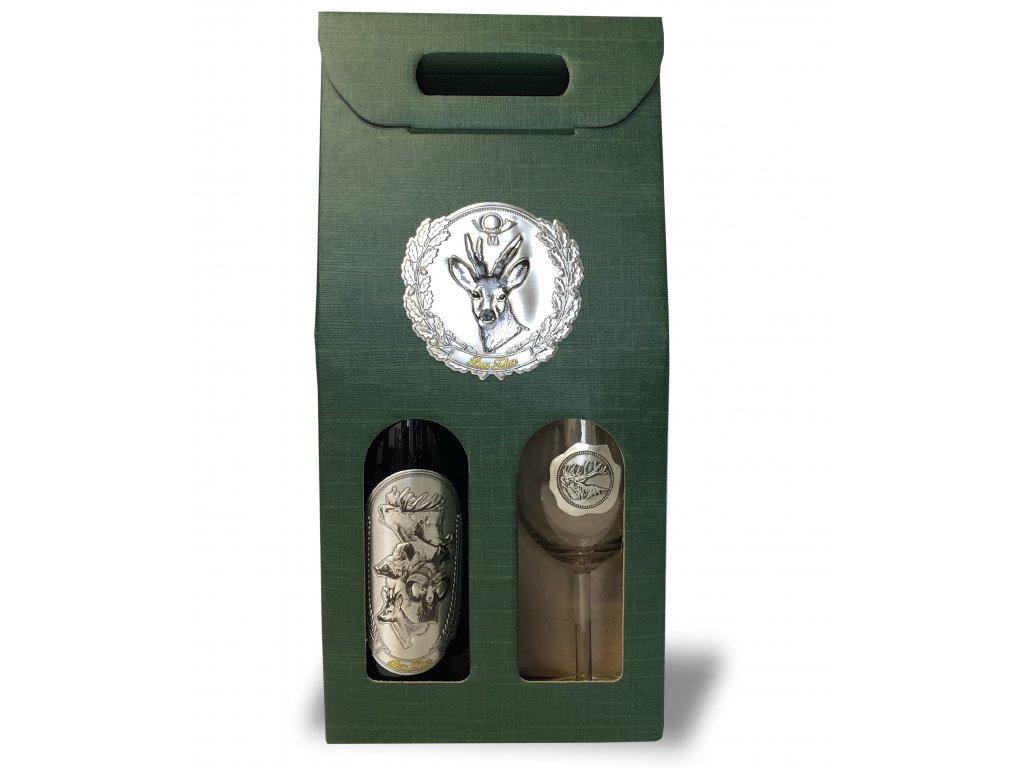 Darčekový set Exclusive 1/1 pre poľovníkov srnka - červené víno