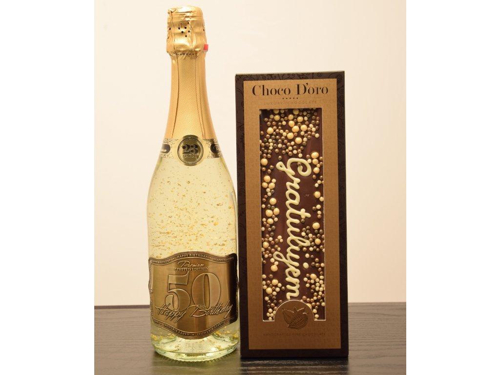 Šumivé víno so zlatými lupienkami Happy Birthday 50 + čokoláda Gratulujem