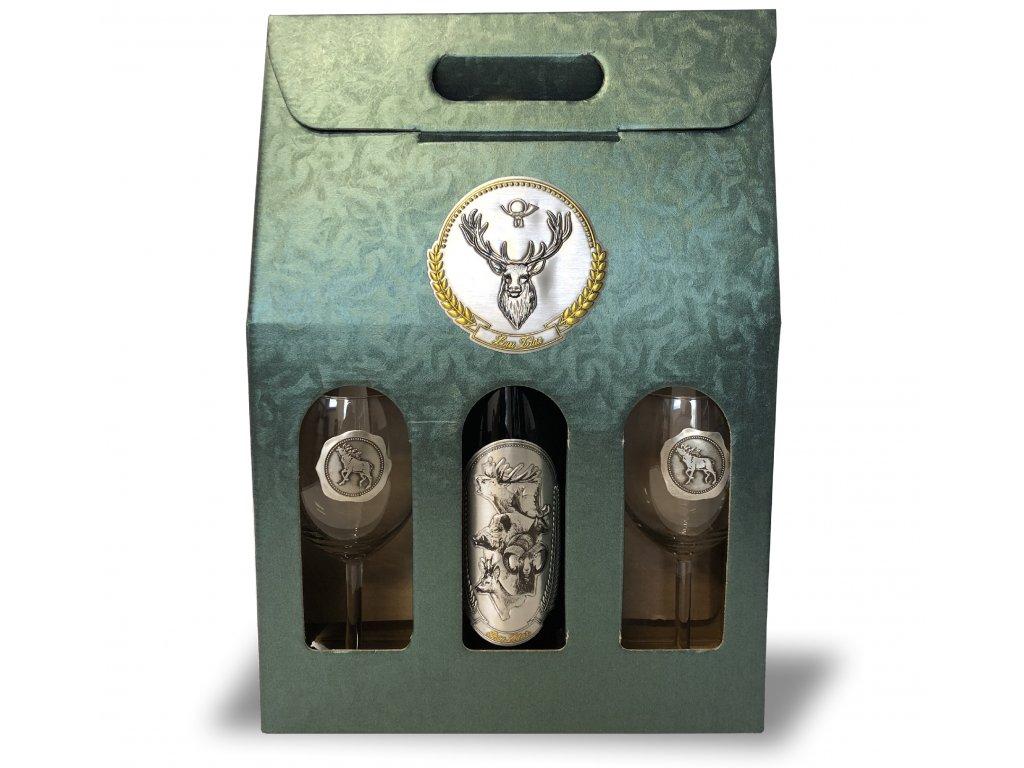 Darčekový set Exclusive 1/2 pre poľovníkov jeleň - červené víno