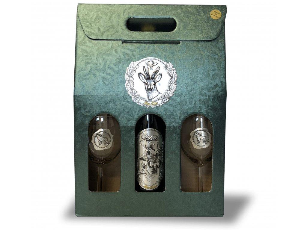 Darčekový set Exclusive 1/2 pre poľovníkov srnka - červené víno