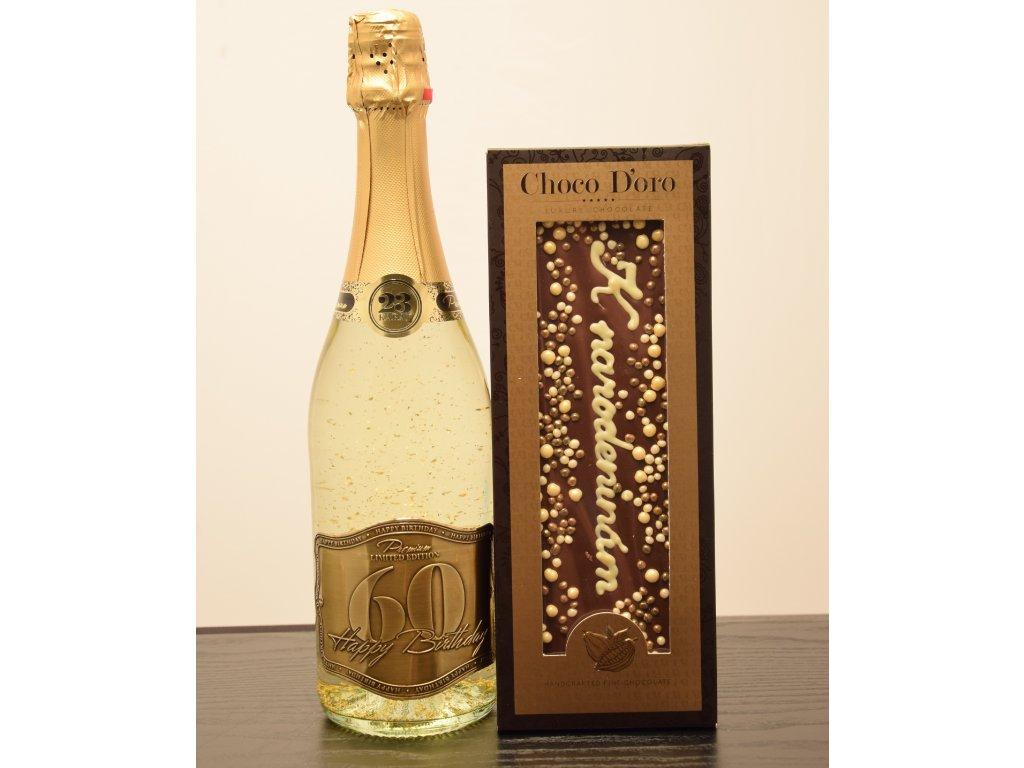 Šumivé víno so zlatými lupienkami Happy Birthday 60 + čokoláda K narodeninám