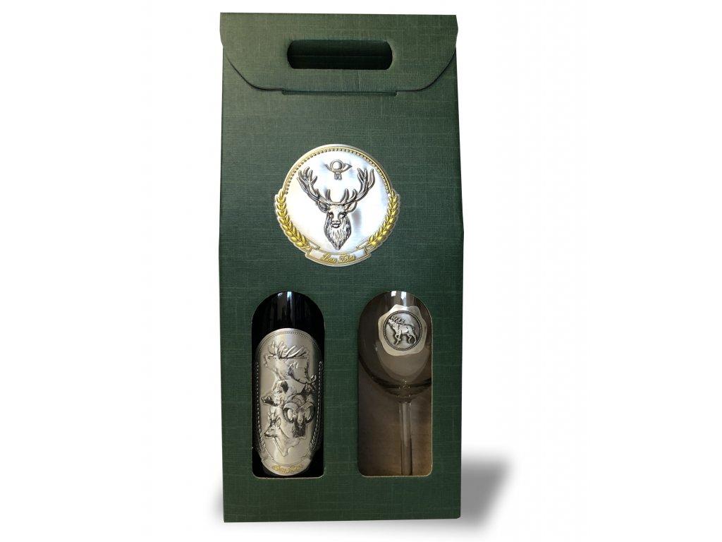 Darčekový set Exclusive 1/1 pre poľovníkov jeleň  - ružové víno