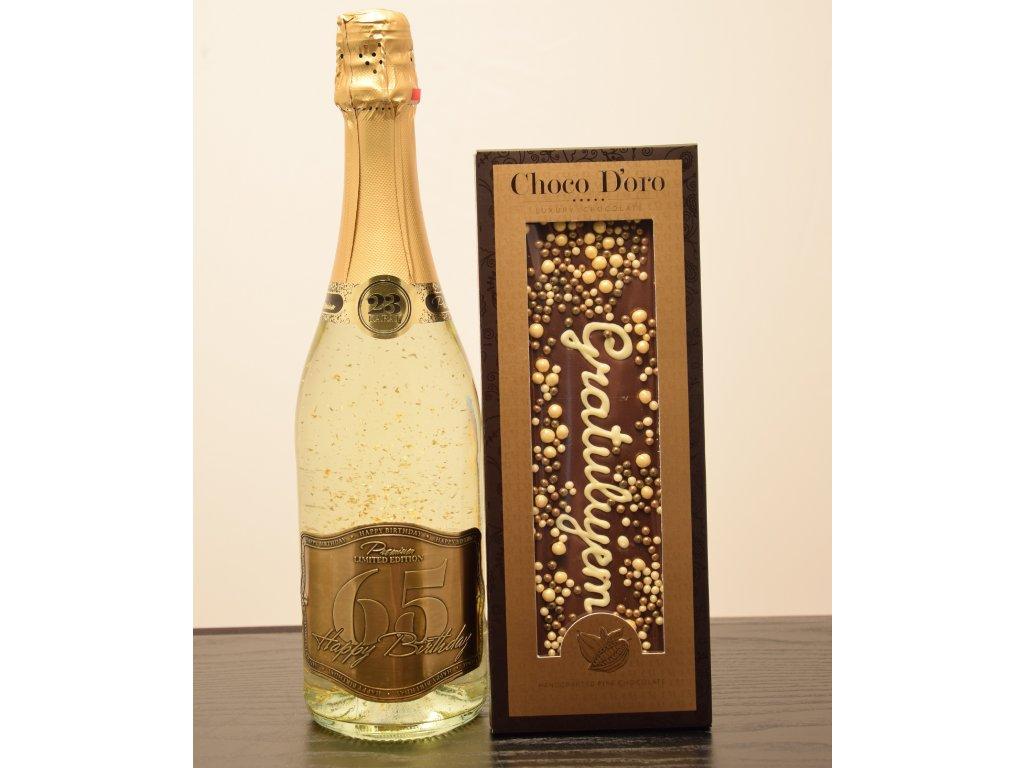 Šumivé víno so zlatými lupienkami Happy Birthday 65 + čokoláda Gratulujem