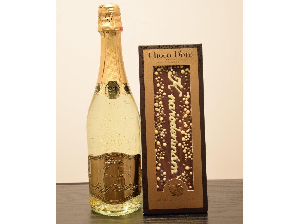 Šumivé víno so zlatými lupienkami Happy Birthday 65 + čokoláda K narodeninám