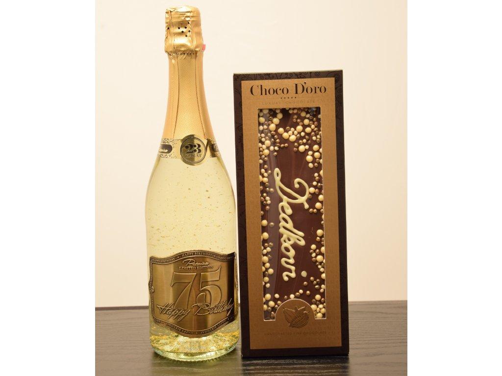 Šumivé víno so zlatými lupienkami Happy Birthday 75 + čokoláda Dedkovi