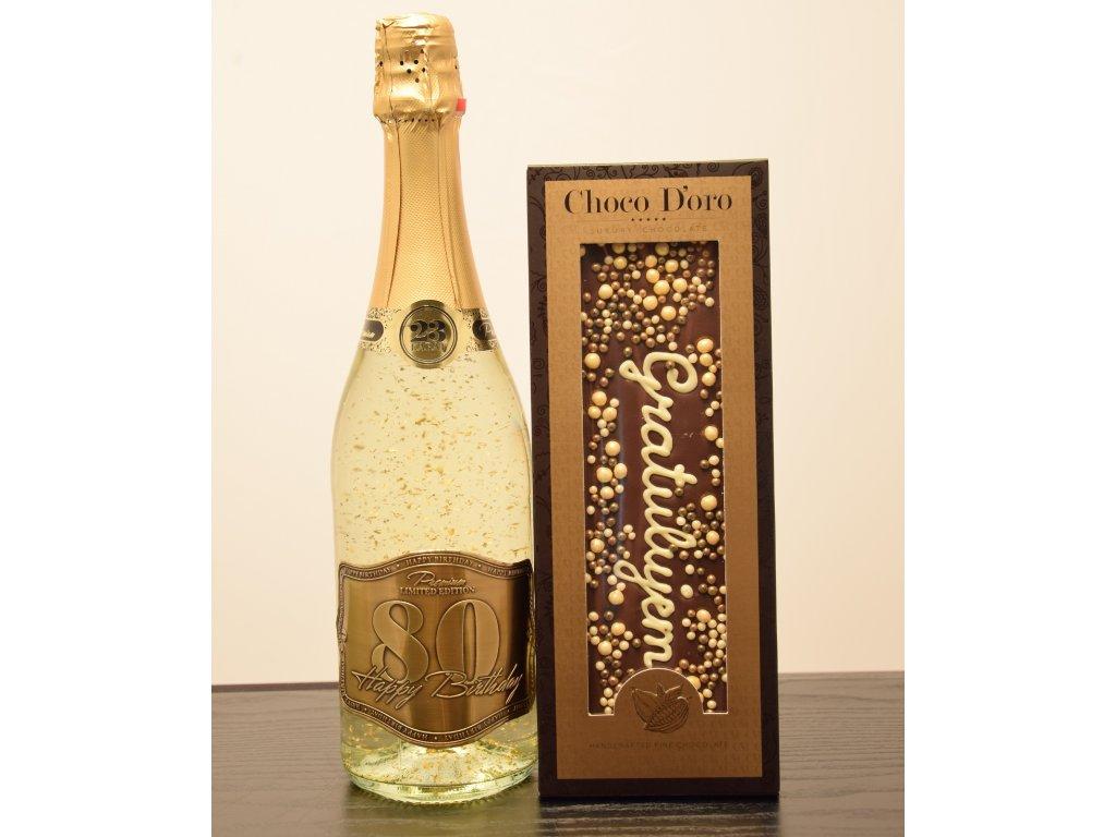 Šumivé víno so zlatými lupienkami Happy Birthday 80 + čokoláda Gratulujem
