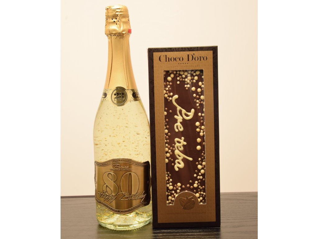 Šumivé víno so zlatými lupienkami Happy Birthday 80 + čokoláda Pre teba