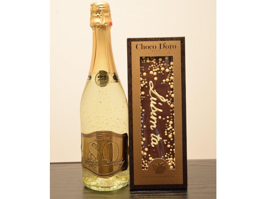 Šumivé víno so zlatými lupienkami Happy Birthday 80 + čokoláda Ľúbim ťa