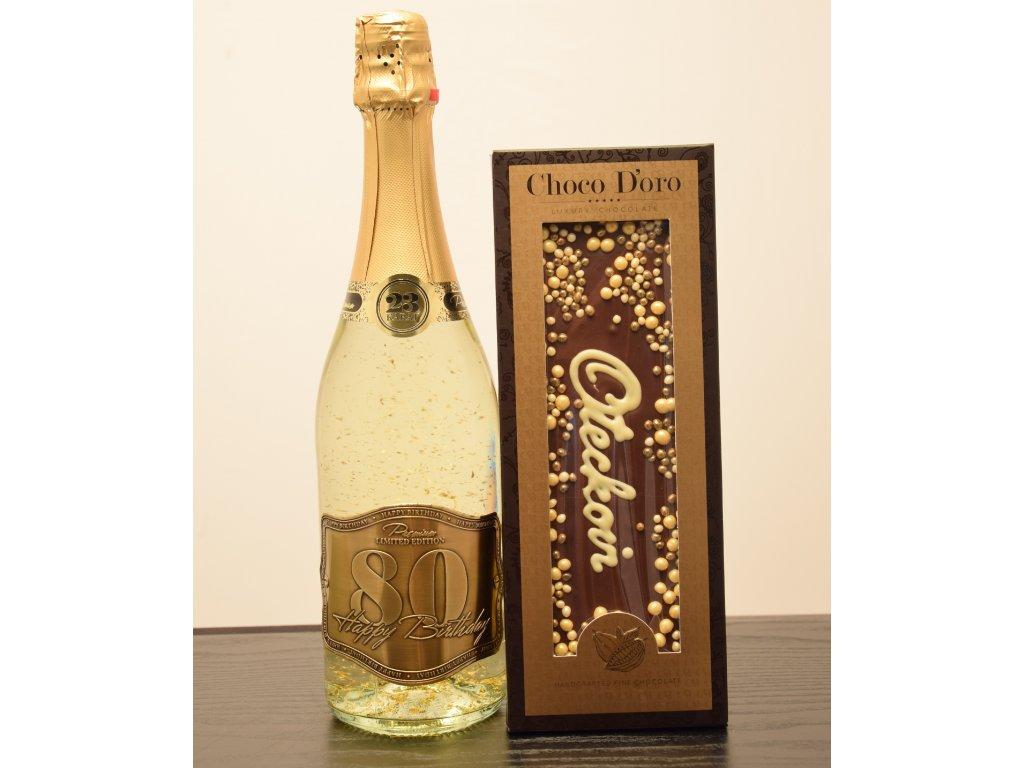 Šumivé víno so zlatými lupienkami Happy Birthday 80 + čokoláda Oteckovi