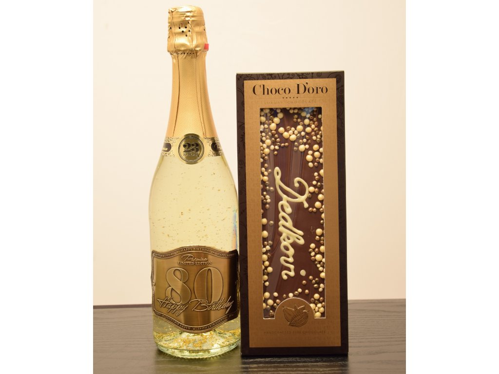 Šumivé víno so zlatými lupienkami Happy Birthday 80 + čokoláda Dedkovi