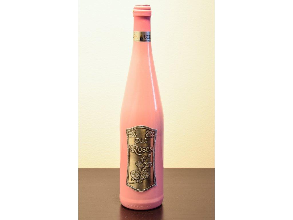 PINK ROSES ružová fľaša s cínovou etiketou