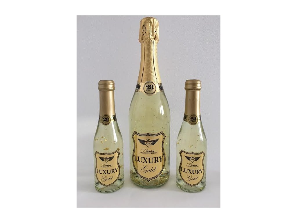 Šumivé víno so zlatými lupienkami Luxury Gold 2