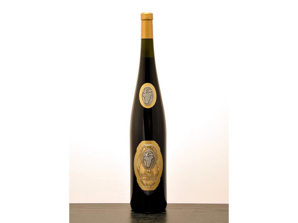 Rýnska flaša - zlatý dizajn - k narodeniám - ružové víno
