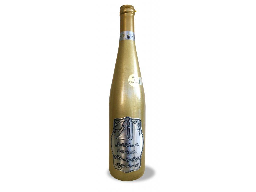 Zlatá fľaša rýnska 0,75l, Pre mladomanželov s básňou
