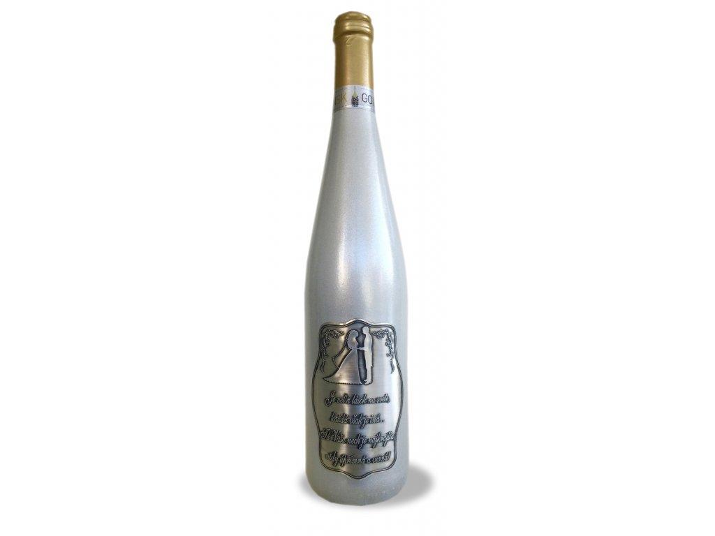 Strieborná fľaša rýnska 0,75 l, Pre mladomanželov, s básňou