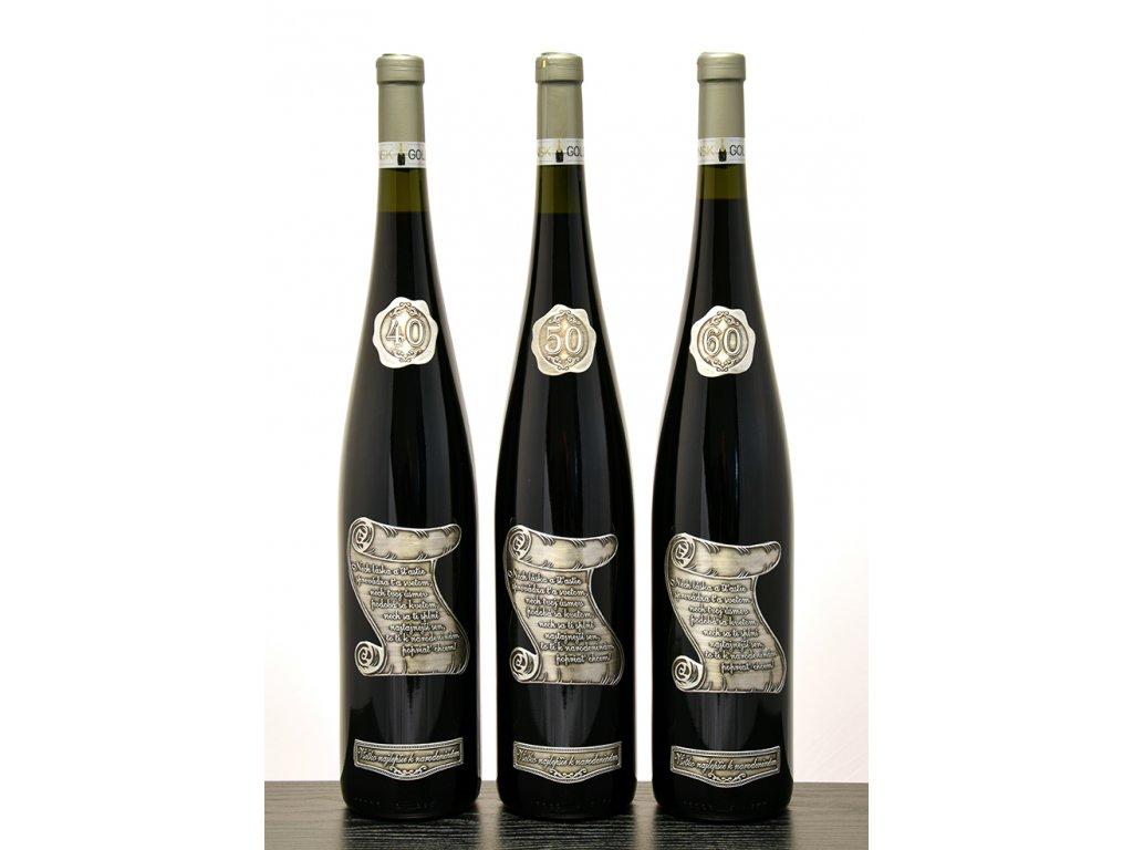 Rýnska flaša - pergamen - ružové víno