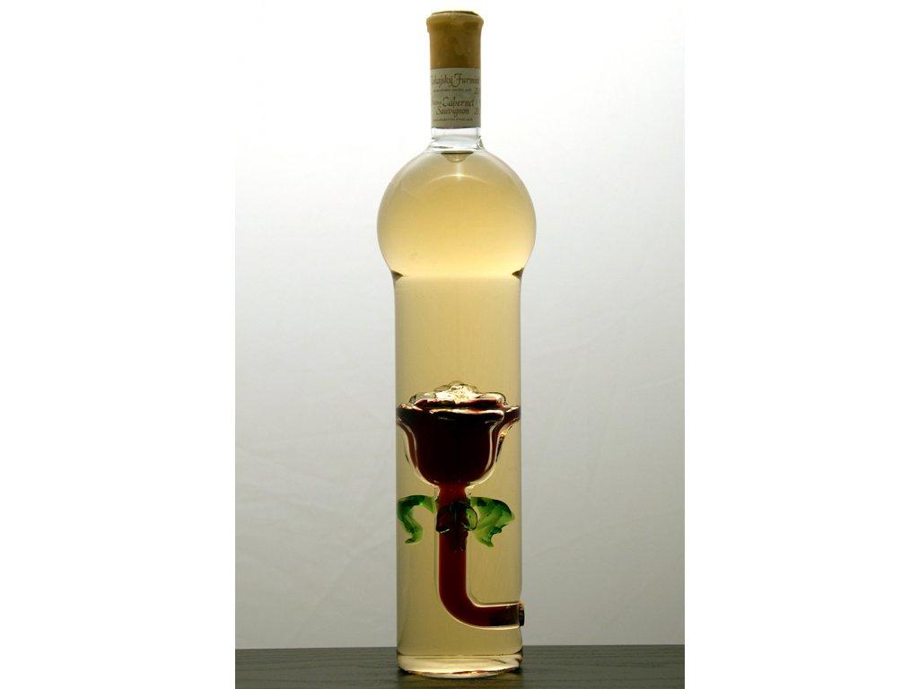 Ozdobná fľaša kupola v nej figúra - ruža
