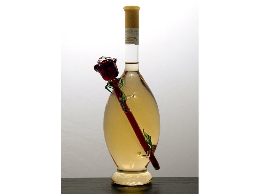 Ozdobná fľaša v nej figúra - ruža z vonka